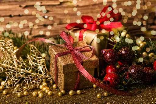 Weihnachten Karte Geschenke gold
